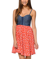 Love, Fire Red Paisley & Denim Eyehook Bodice Dress
