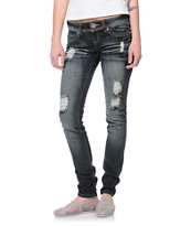 Almost Famous Tammy Dark Wash Bling Skinny Jeans