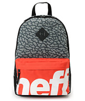 Neff Scholar  Black Crackle & Red Backpack