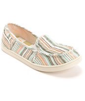 Roxy Lido II Beige & Blue Slip On Shoe