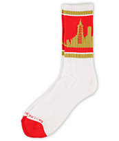 Skyline Socks San Francisco Scarlet & Gold Crew Socks