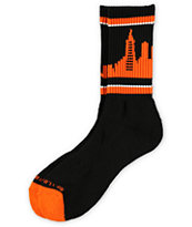 Skyline Socks San Francisco Orange & Black Crew Socks