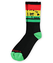 Skyline Socks Hawaii Black & Rasta Crew Socks