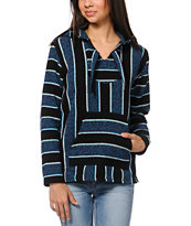 Senor Lopez Girls Black Purple & Mint Stripe Poncho
