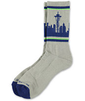 Skyline Socks Seattle Grey, Blue & Lime Crew Socks
