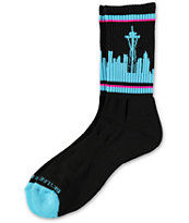 Skyline Socks Seattle Black, Teal & Pink Crew Socks
