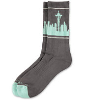Skyline Socks Seattle Charcoal & Turquoise Crew Socks