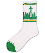 Skyline Socks Seattle White & Green Crew Socks