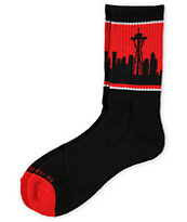 Skyline Socks Seattle Black & Red Crew Socks