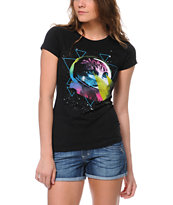 Bitter Sweet Space Laser Kitty Black Tee Shirt