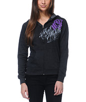 Metal Mulisha Girls Corset Charcoal Zip Up Hoodie