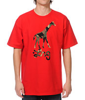 LRG Camo Giraffe Red Tee Shirt