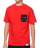 Diamond Supply City Label Red Pocket Tee Shirt