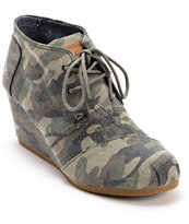 Toms Washed Camo Canvas Desert Wedge Shoes