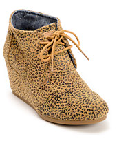 Toms Cheetah Suede Desert Wedge Shoes