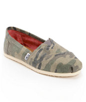 Toms Classics Washed Camo Girls Slip On Shoe