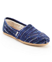 Toms Classics Indigo Knit Slip-On Girls Shoe