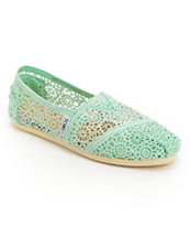 Toms Classics Mint Crochet Slip On Shoes