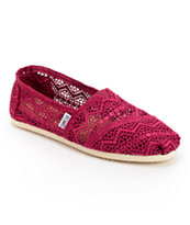 Toms Classics Plum Crochet Slip On Shoes