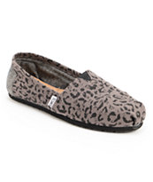 Toms Classics Ash Snow Leopard Girls Slip On Shoes