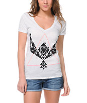 Empyre Girls Geometry Heather White V-Neck Tee Shirt