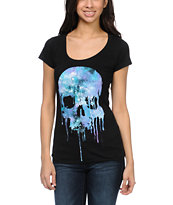 Empyre Girls Cosmic Drip Skull Black Tee Shirt