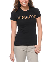 A-Lab Girls #Meow Black Tee Shirt