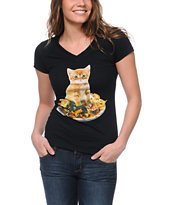 A-Lab Girls Nacho Cat Black V-Neck Tee Shirt