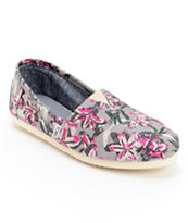 Toms Classics Grey Floral Print Girls Vegan Slip On Shoes
