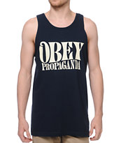 Obey Propaganda Type Navy Tank Top