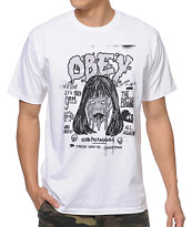 Obey Face Melighters White Tee Shirt