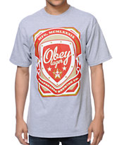 Obey Propaganda Brewing Co Heather Grey Tee Shirt