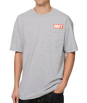 Obey Bar Pocket Heather Grey Tee Shirt