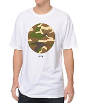 Stussy Camo Circle White Tee Shirt