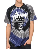 Stussy World Tour Swirl Purple & White Tie Dye Tee Shirt