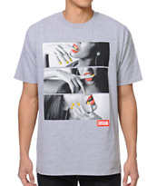 Popular Demand Lips & Nails Grey Tee Shirt