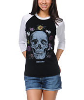 Obey Reincarnation Black & White Baseball Tee Shirt