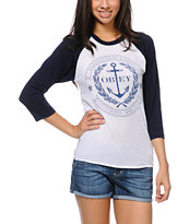 Obey Girls Cruise Liner Navy Baseball Tee Shirt