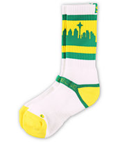 Strideline Classic SeaTown White, Green & Yellow Crew Socks
