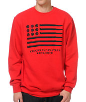 Crooks and Castles Ammo Flag Red Crew Neck Red Sweatshirt
