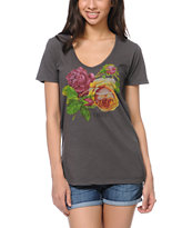 Obey Bed Of Roses Grey Skinny V-Neck Tee Shirt