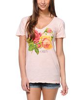 Obey Bed Of Roses Pink Skinny V-Neck Tee Shirt