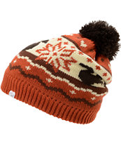Coal Girls Heidi Dueling Squirrels Orange Pom Beanie