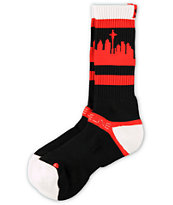 Strideline Classic SeaTown White Top & Red Crew Socks