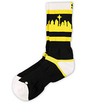Strideline Classic SeaTown White Top Yellow & Black Crew Socks