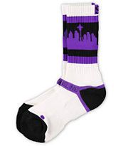 Strideline Classic SeaTown White & Purple Crew Socks