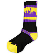 Strideline Classic SeaTown Black & Purple Huskies Crew Socks