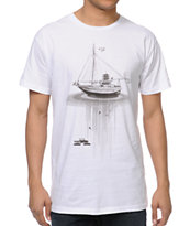 Spacecraft Adrift White Tee Shirt