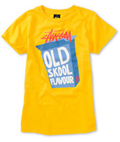 Stussy Girls Flavor Box Gold Yellow Tee Shirt