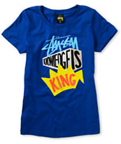 Stussy Girls Knowledge Block Blue Tee Shirt